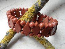 Goldfluss, Armband, Armreif mit Rauten & Perlen