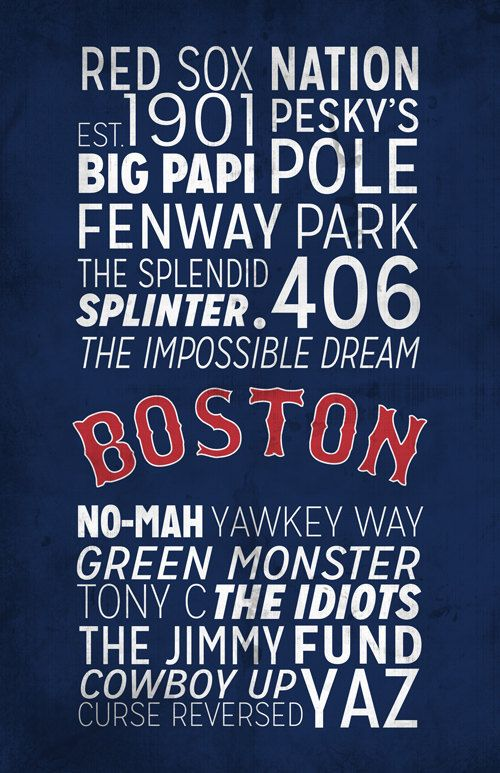 Boston Red Sox Poster https://www.etsy.com/listing/166637069/boston-red-sox-print