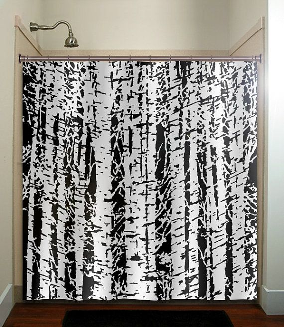 Forest Woodland White Birch Trees Shower Curtain Bathroom Decor Fabric Kids Bath Black Custom Duvet