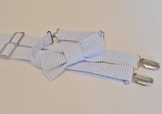 Light blue and white stripe bow tie and by CuppyCakeClothing