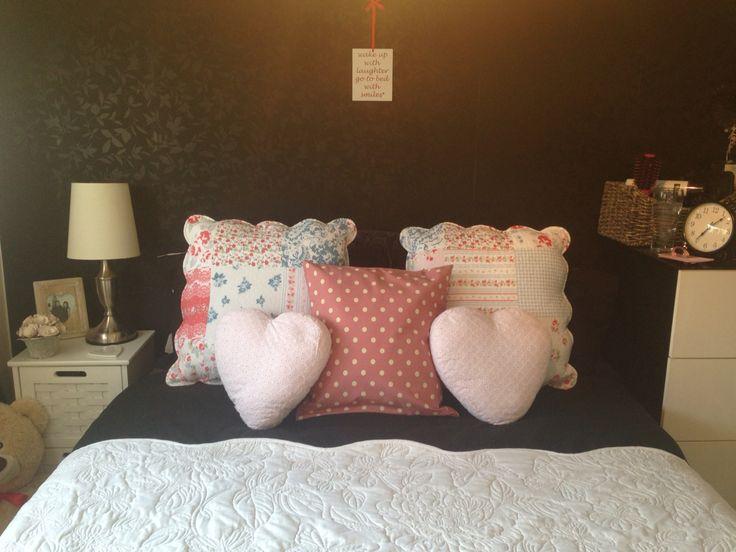 Homemade pink polka dot throw pillow!