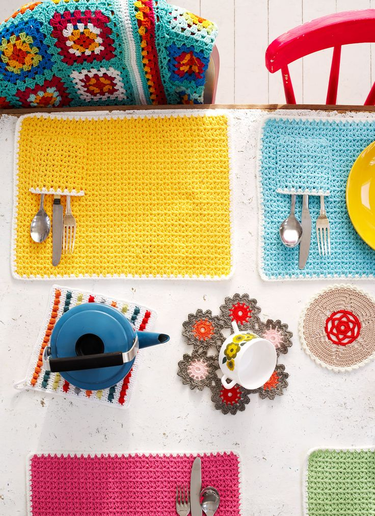 Rachel Whiting Commissioned Photography for Mollie Makes Crochet - includes three doily / poyholder designs by Emma Lamb