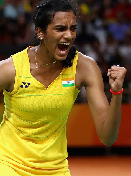 V Sindhu Pusarla of India celebrates a point against Carolina Marin of Spain…