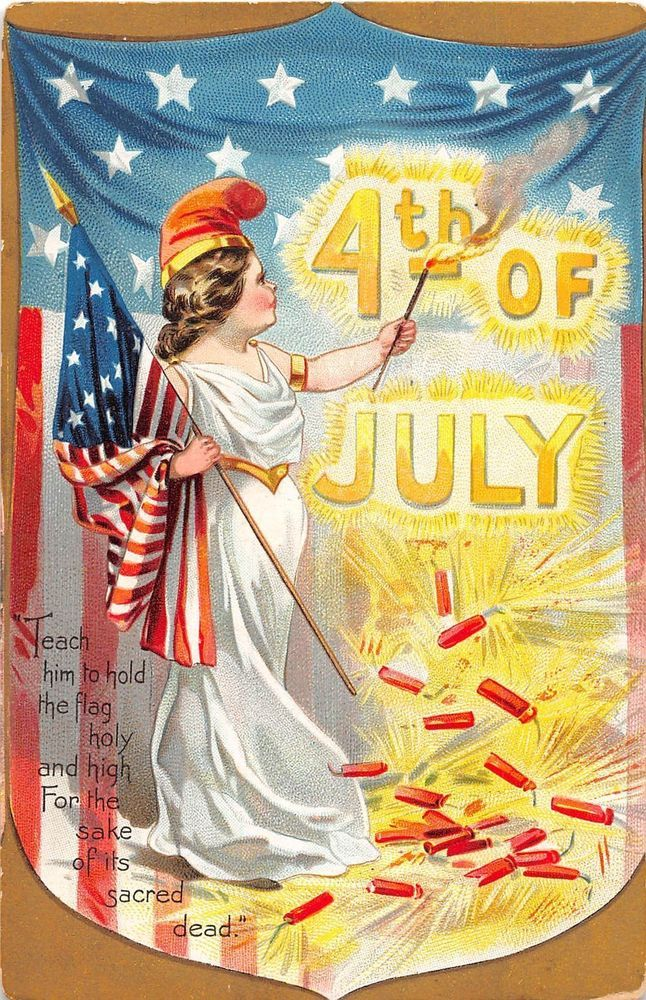 D41/ Fourth of July 4th Holiday Postcard Patriotic c'10 Child Lady Liberty Flag7