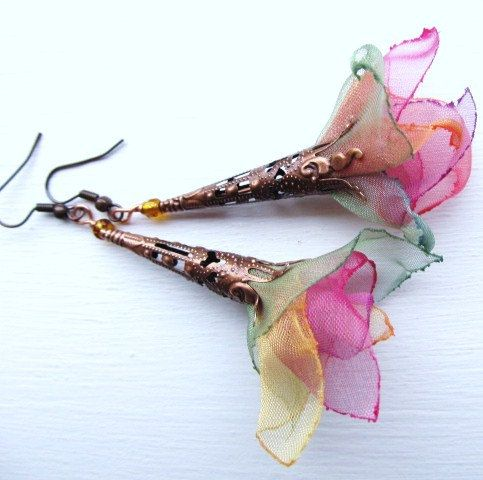 Rainbow Petals . organza one of a kind earrings . Dancing in the air - designed and handmade by MGMart