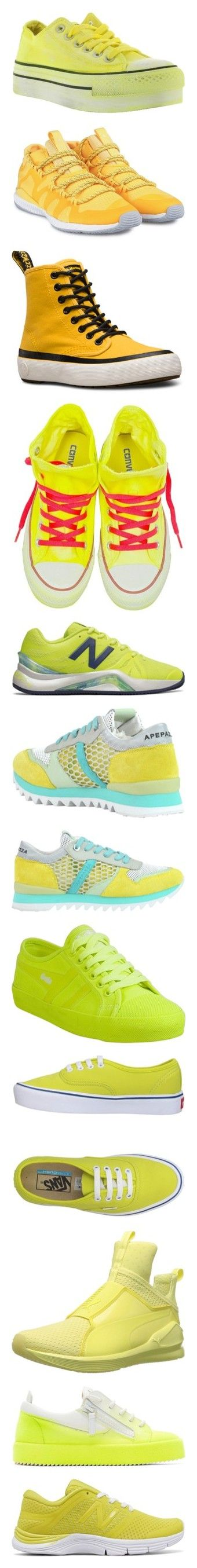 """brillá"" by dairarosario on Polyvore featuring shoes, sneakers, womenshoessneakers, yellow, star sneakers, converse footwear, yellow platform shoes, yellow sneakers, converse trainers y giallo"