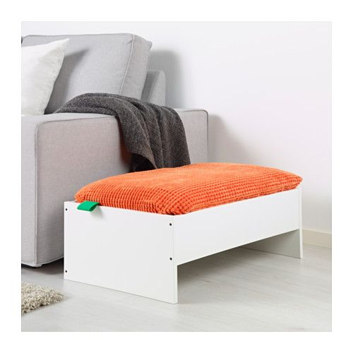 LURVIG Pet bed with pad, white, orange white/orange 17 ½x27 ¼