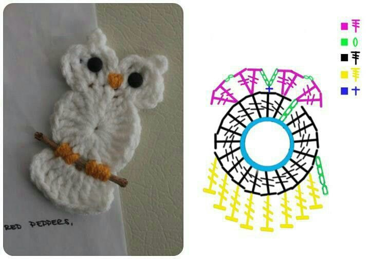 ✼✼ Aplique de Coruja em Crochê -  /  ✼✼ Apply in Owl of Crochet  -