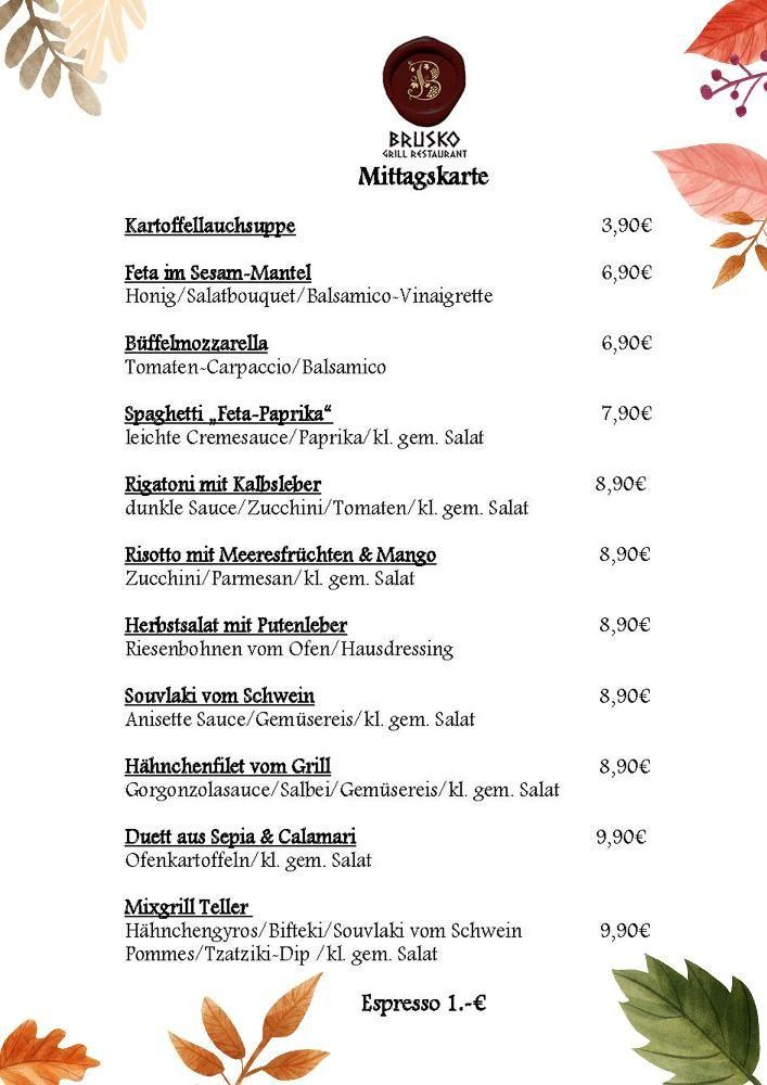 Schoenen Start in die Woche an alle. Diese Woche gibt es mittags:    Brusko griechisches Grill Restaurant   www.brusko.de #Mittagslunch #Businessluch #Mittagsmenu #Pause #Brusko #griechischesRestaurant #Muenchen #Schwabing #Leopoldstrasse #Grieche #Restaurant #Eventlocation #griechisches #Grill