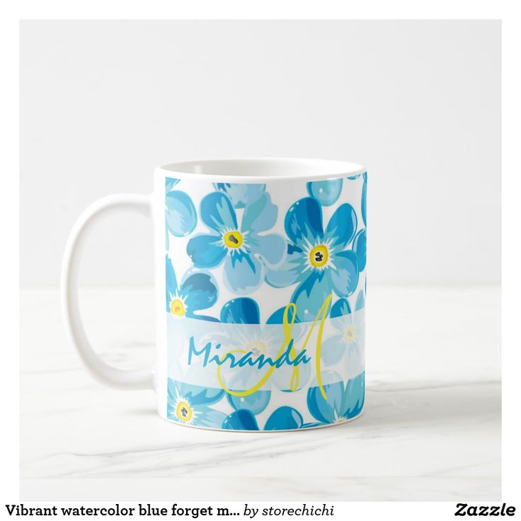 Vibrant watercolor blue forget me not flowers name