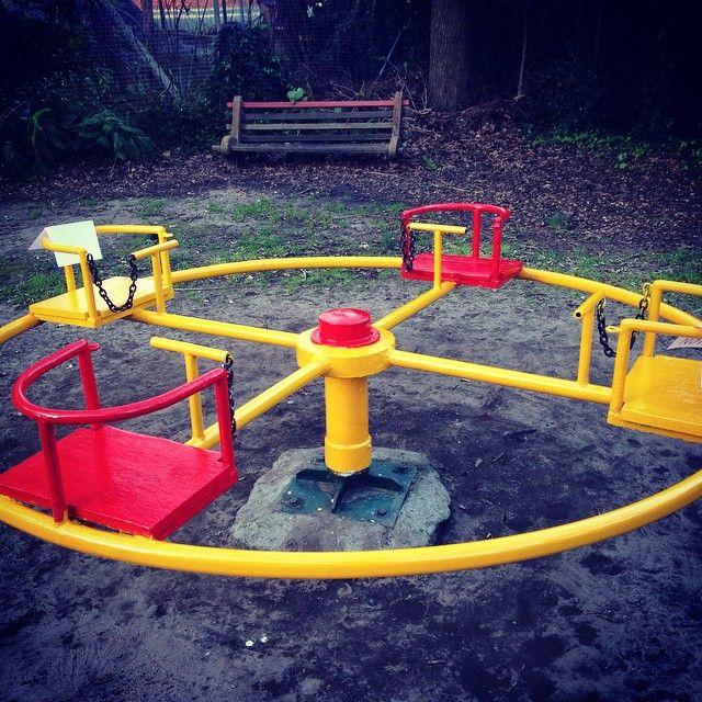 Playground restoration project, finished roundabout. Thanks, @alixjane and Tay.