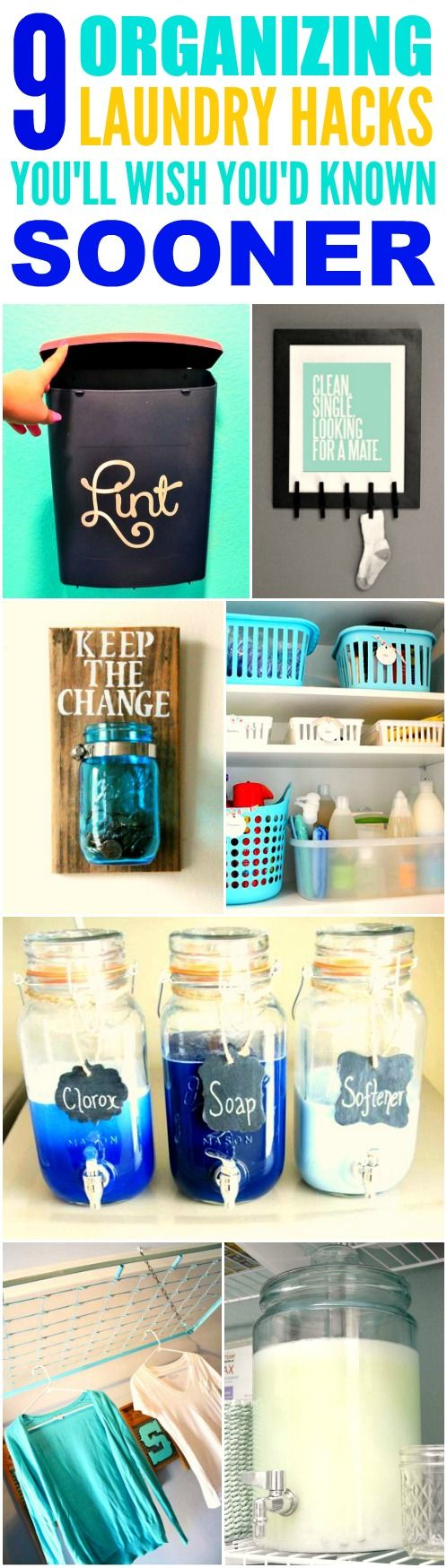 These 9 organizing laundry hacks are THE BEST! I'm so glad I found these AMAZING tip! Now I have some cute ways to organize my laundry room Definitely pinning for later!
