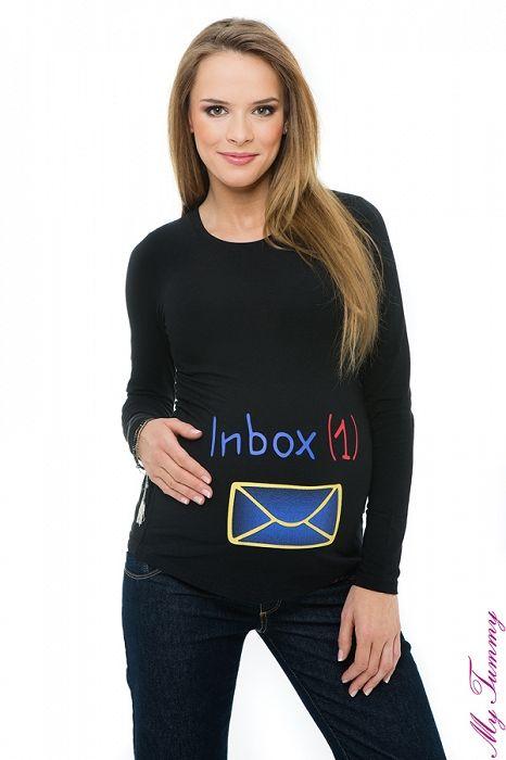 """Těhotenské tričko černé """"Zpráva"""" - My Tummy - Elegantní a praktická móda pro těhotné a kojící ženy"""
