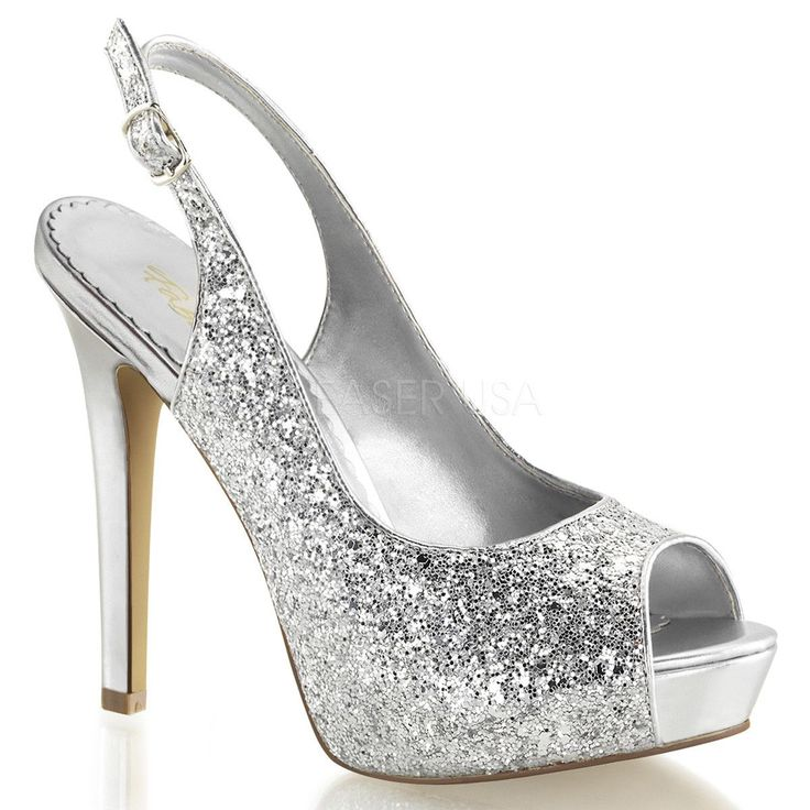 FABULICIOUS LUMINA-28G Silver Glitter Open Toe Pumps