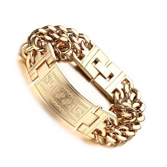 Men's 316L Stainless Steel Jewelry Great Wall Pattern 18K Gold Plated Double Hand Chain Men Bracelet For Male