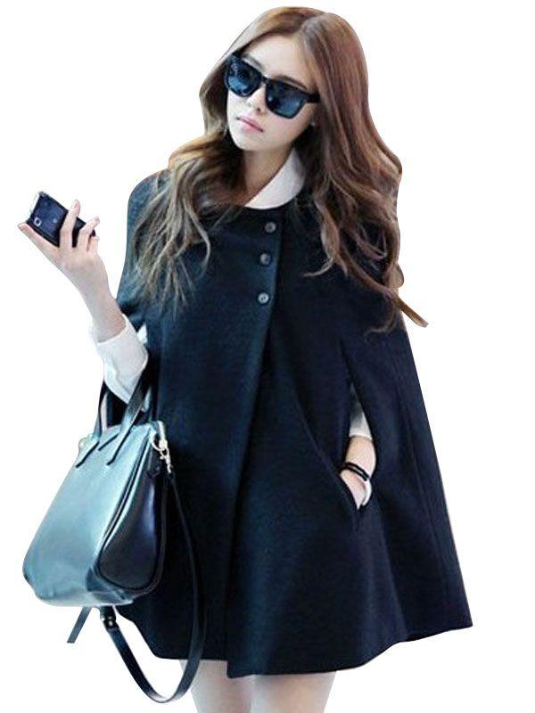 M-XXL Stylish Solid Color Long Sleeve Loose Cloak Women Coat
