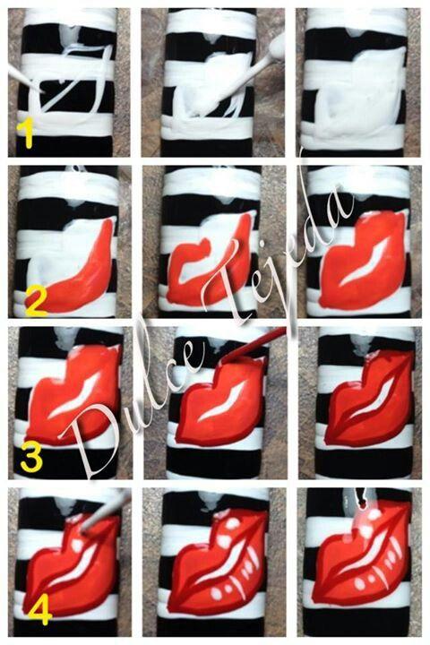 photo tutorial for painting lips #diy #nailart