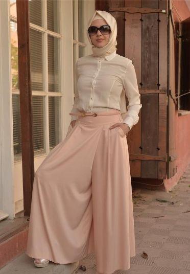 b17143819ba83 kemerli-açık-renk-yazlık-kapaklı-etekli-pantolon-modeli - Ortuluyum.com - Tesettür  Giyim Modelleri ve Tesettür Modası Tasarımları