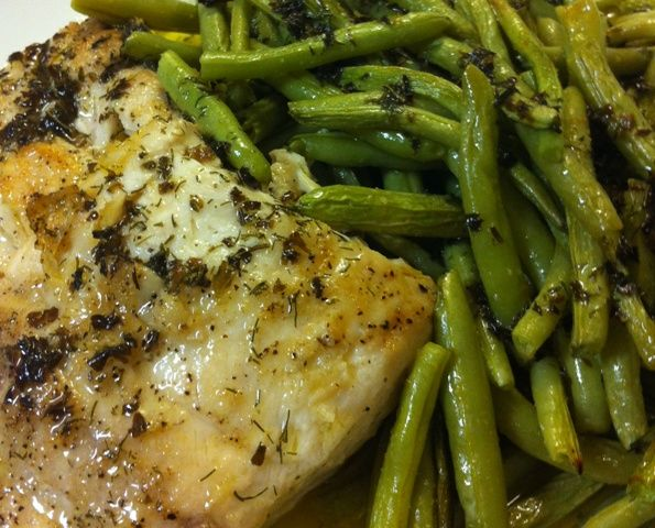 Mahi Mahi (or whitefish or whatever you want, really) with Roasted Green Beans and Lemon-Ghee-Basil-Dill Sauce