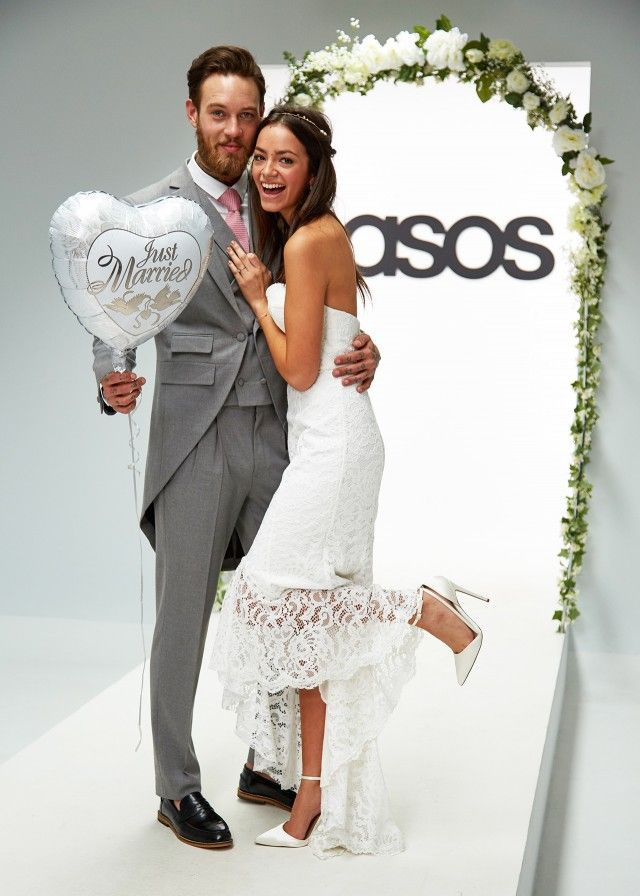 ASOS models Billy Huxley and Arielle on the ASOS wedding catwalk. Bridal. Groom