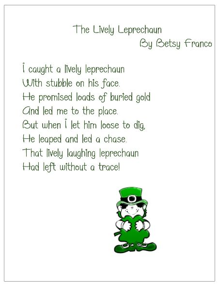 The Lively Leprechaun poem for St. Patrick's Day.  Free Printable available from Just for Teachers blog.