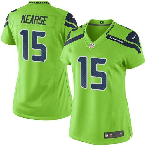 #NikeSeahawks #15 #Jermaine #Kearse Green Women's #Stitched #NFL Limited #RushJersey