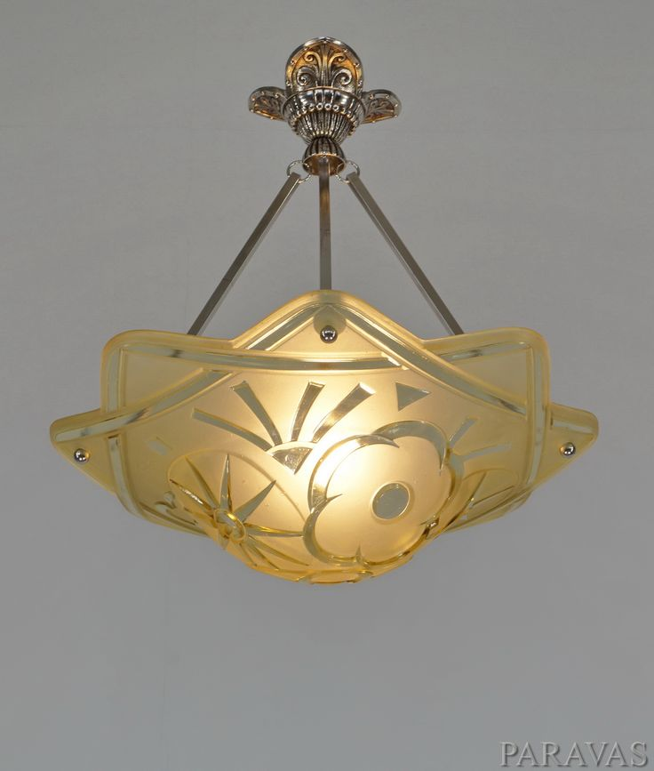 Degue French 1930 35 Art Deco Chandelier Bowl In Amber Coloured Moulded Glass
