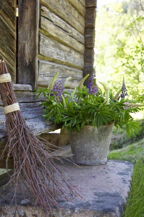 Rustic stoop with twig broom, old zinc bucket full of flowers