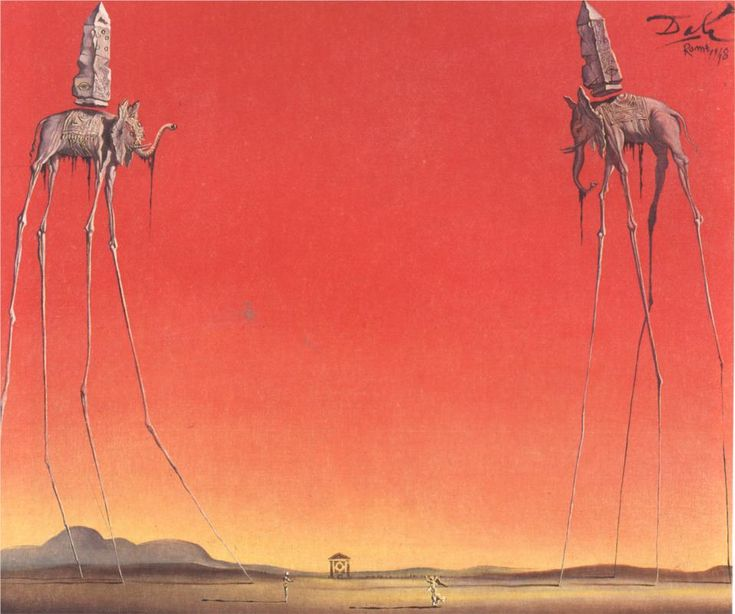 """The Elephants - Salvador Dali - WikiPaintings.org    According to Dali, """"The difference between me and the surrealists is that I am Surrealism."""" =)"""