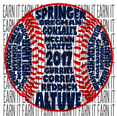 Houston Astros Active Roster in Baseball Shape.  Digital file.  SVG cut file ready.  World Series.  Earn History.  Fun Astros Shirt.  Astros Word Art.