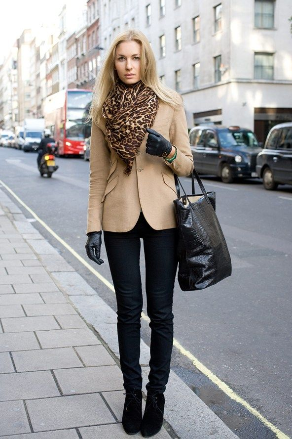 Ralph Lauren beige jacket with leather gloves