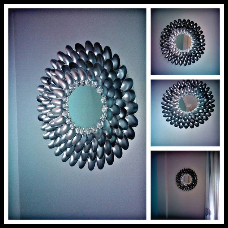 My handmade plastic spoon mirror! Livingroom decoration!