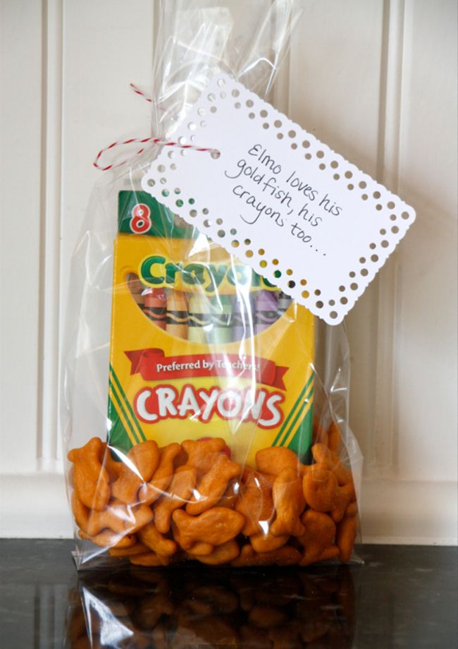 Elmo loves his goldfish and crayons, too! - GREAT Elmo birthday treat bag or gift for preschool or daycare classrooms on birthdays!