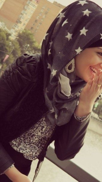 Hijabi Style Stars animal print black with silver earrings--lots of accessorizing!