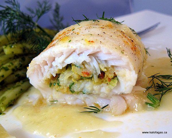 Shrimp stuffed Sole with Lemon Sauce - Greek
