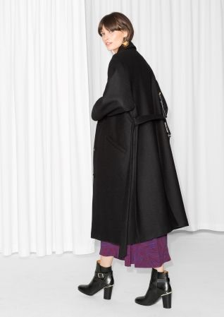 & Other Stories image 3 of Tie Belt Wrap Coat in Black