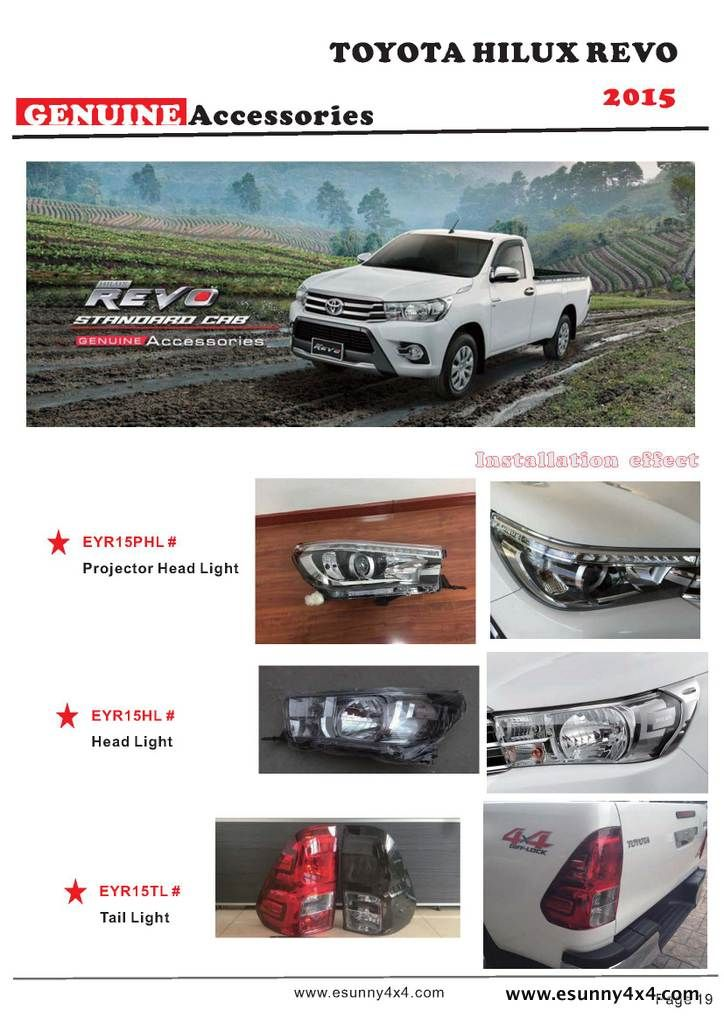 HILUX REVO 2015 head and rear light.