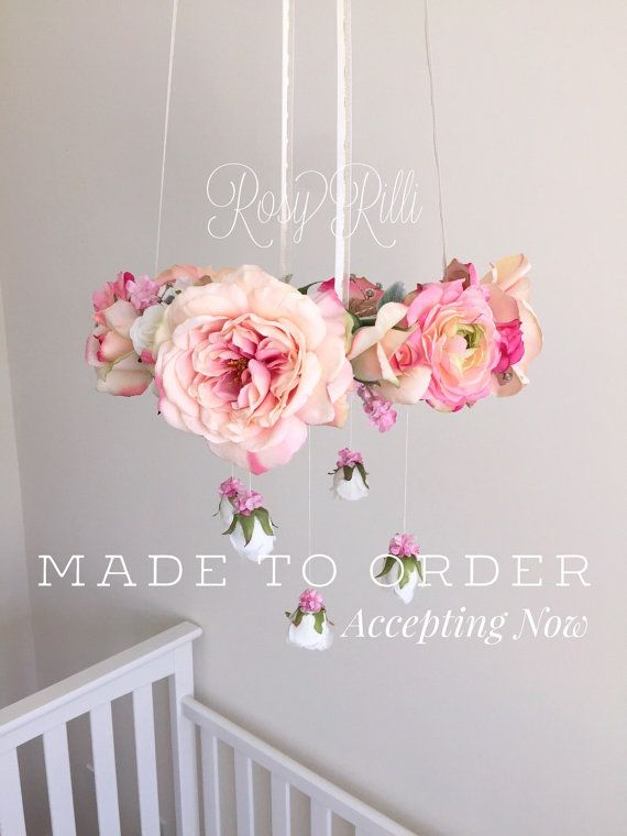 Pink and Gold Flower Crib Mobile / Floral Hanging Chandelier  ***NOTE: This is a MADE TO ORDER item. Processing time to create the mobile is 3-4 weeks