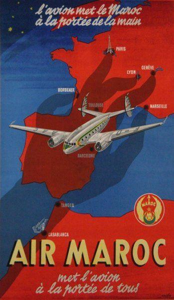 illustration française de tourisme : affiche Air Maroc, bleu-rouge, avion