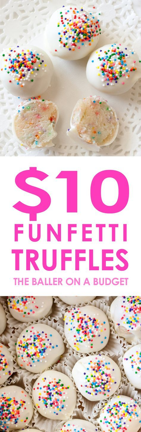 These quick and delicious Funfetti Truffles cost less than $10 to make and are perfect for birthday gifts and Christmas presents!