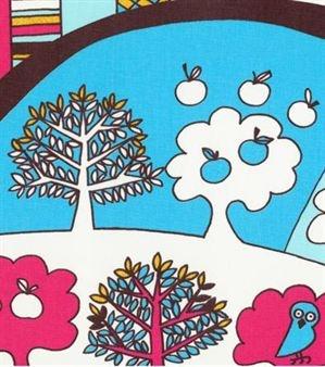 Leon fabric - pink-turquoise - Sandberg Tyg & Tapet