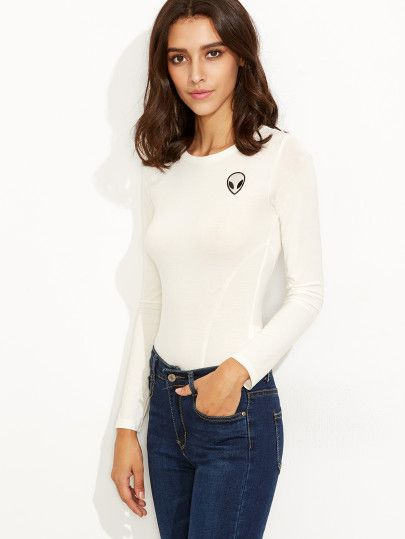 White Long Sleeve Bodysuit With Alien Patch Detail