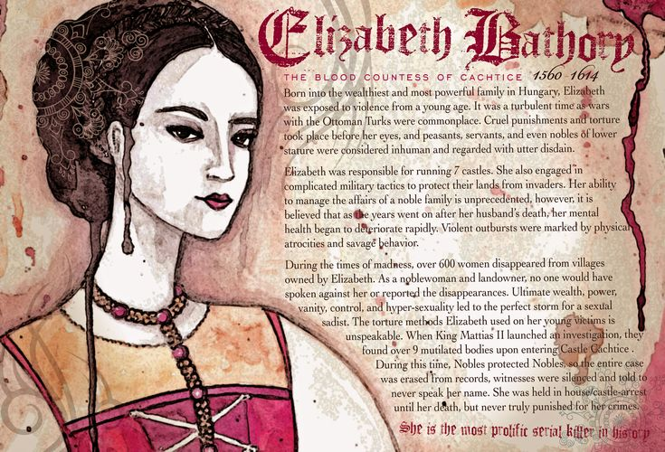 With an unquenchable thirst for blood, Countess Elizabeth Bathory was one of the most prolific serial killers in history. Description from thefemalecelebrity.com. I searched for this on bing.com/images