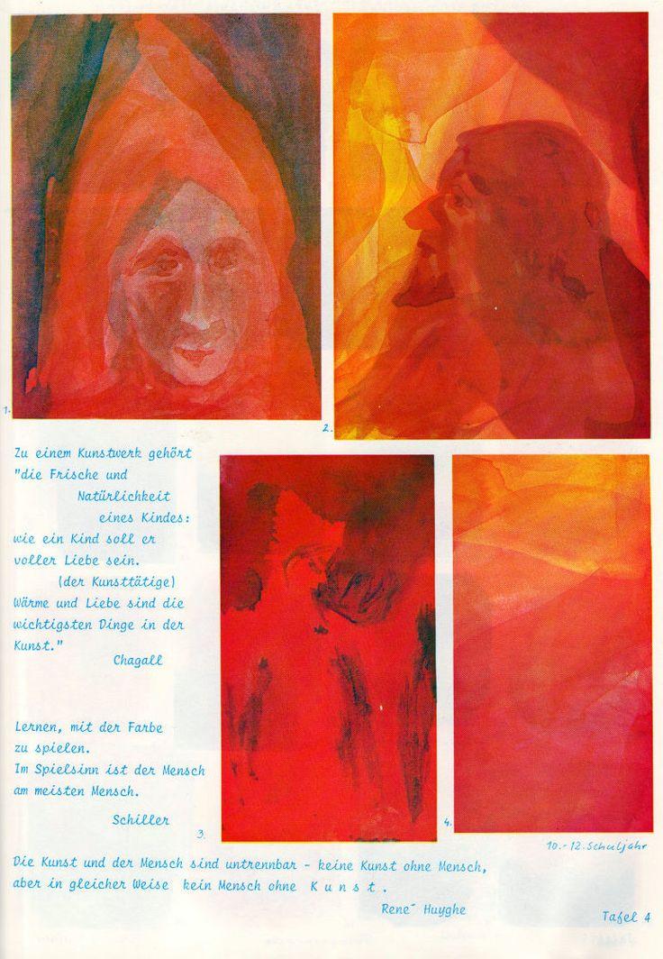 Tafel 04: Märchenfiguren in Rot (10.-12. Schuljahr)  [ oben links: Portrait in Rot mit roter Zipfelmütze mit Hintergrund in Blau-Rot  oben rechts: Gesicht im Profil mit Spitzbart unter vorhangähnlichen Stoffen in Rot mit Hintergrund in Rot-Gelb  unten links: Figur mit Zipfelmütze in Rot mit Hintergrund in Rot-Schwarz  unten rechts: undefinierbare Schichten in Rot und Gelb