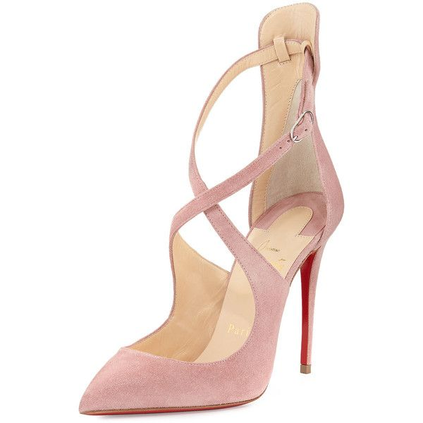 Christian Louboutin Marlenarock Crisscross Suede Red Sole Pump (€895) ❤ liked on Polyvore featuring shoes, pumps, heels, sapatos, christian louboutin, nude, pointy toe ankle strap pumps, nude suede shoes, nude shoes and nude heel shoes