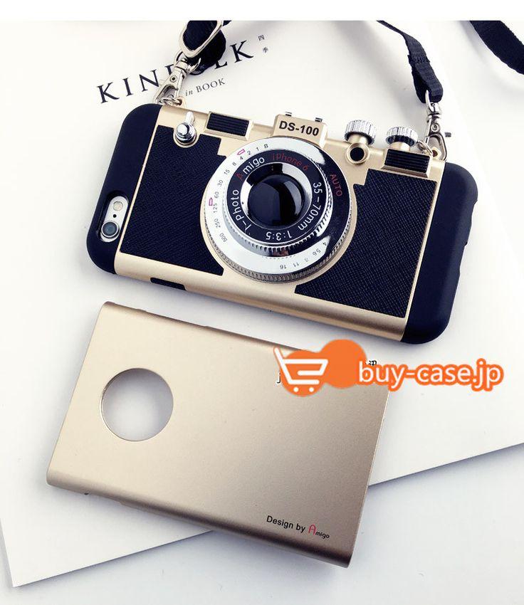 韓国オリジナル ストラップ付きカメラ型iphone6ケース6sアイフォン7シリコン製