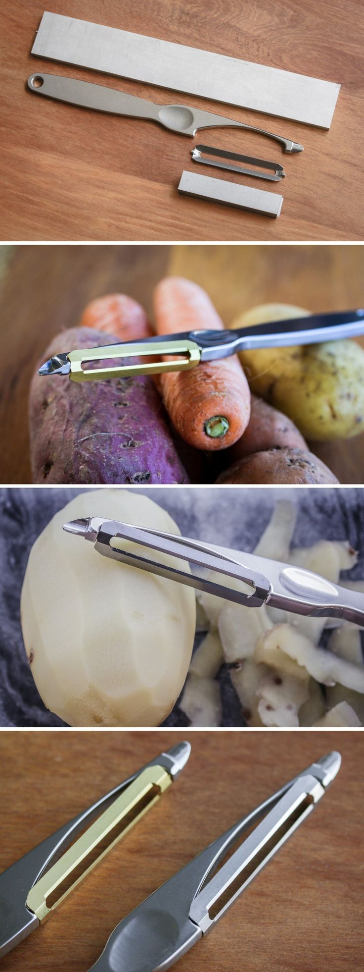 The Titanium Peeler can peel a goddamn tree. It's the ultimate peeling device with its titanium body AND blade. Lightweight, ergonomic, and incredibly resilient, you can use the Titanium peeler to peel pretty much anything you please. However we sincerely hope you stick to fruits and vegetables! Read More at Yanko Design.