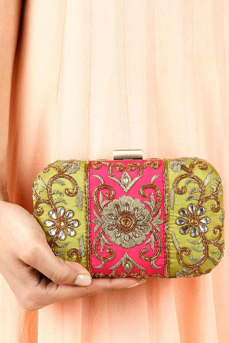 Fuchsia and olive green colour block floral clutch available only at Pernia's Pop-Up Shop.