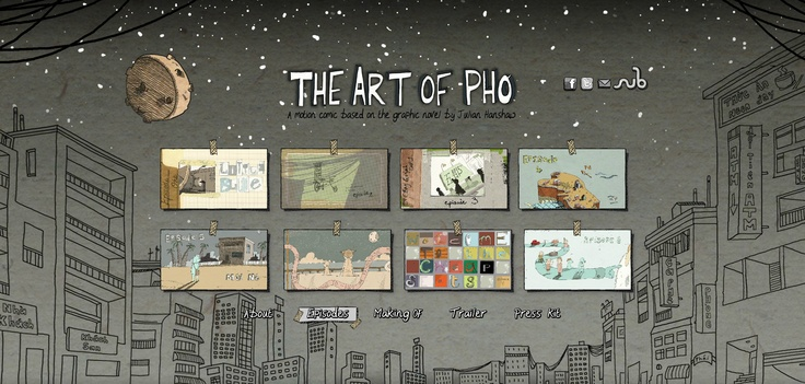 Screenshot of the The Art of Pho motion comic website