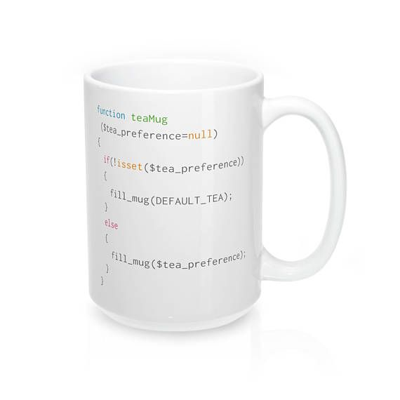 The perfect mug for PHP coders #CodeBean #python #gifts #coding #starbucks #coffeetime #giftideas #giftsforher #giftsforhim #programminghumor with an affinity for tea. Following this simple script will remind coders to fill up an empty mug with the tea of their preference!  The perfect mug to get a much that needed tea from while web-designing!   - Durable white ceramic mug  - Rounded edge, safe to